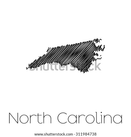 A Scribbled shape of the State of North Carolina