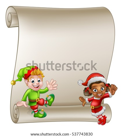 A scroll sign with cute Christmas elf helpers cartoon Characters one in a Santa hat