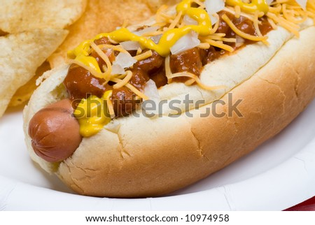 A scrumptious barbecued chili dog with onions, mustard and cheese rests on a picnic table waiting to be consumed. - stock photo