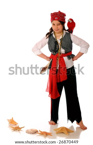 A scrutinizing pirate girl with a parrot on her shoulder.  Isolated on white.