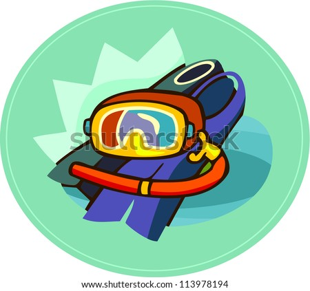 A scuba mask and flippers - stock photo