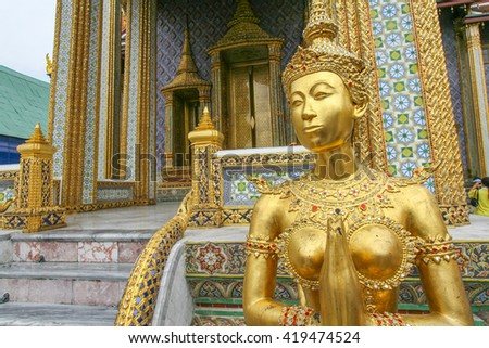 A sculpture in Grand Royal Palace in Bangkok, Thailand