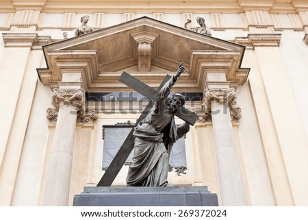 A sculpture of Christ Bearing His Cross, Holy Cross Church, Warsaw, Poland - stock photo
