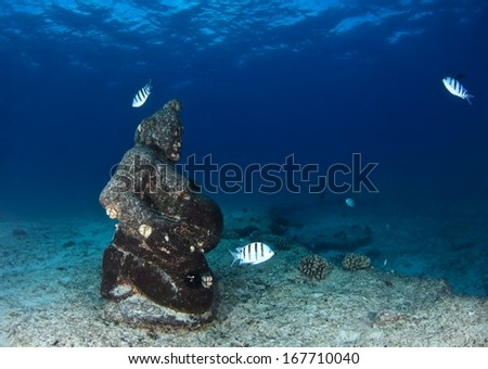 A sculpture of goddess and fishes underwater at Oahu, Hawaii. - stock photo