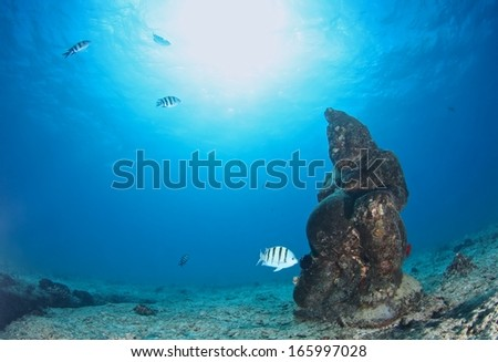 A sculpture of goddess underwater at Oahu, Hawaii.  - stock photo