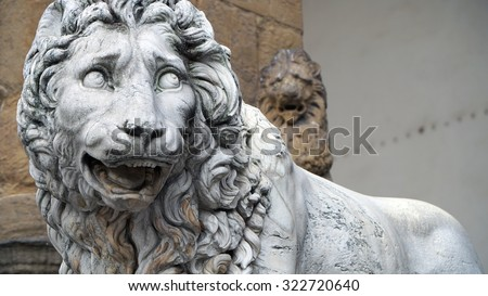 "A sculpture of lion by ""Piazza della Signoria"" in Florence, Italy Renaissance"