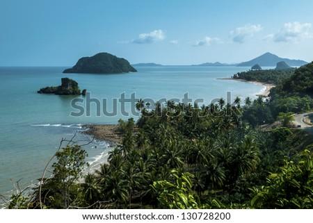 A sea beach from a high angle. - stock photo