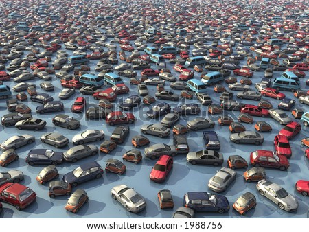 A sea of cars. By adjusting the output level sliders, effective text background for reports can be created - stock photo