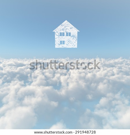 A sea of clouds and house