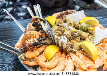 A seafood platter close up. Mixed Seafood platter.