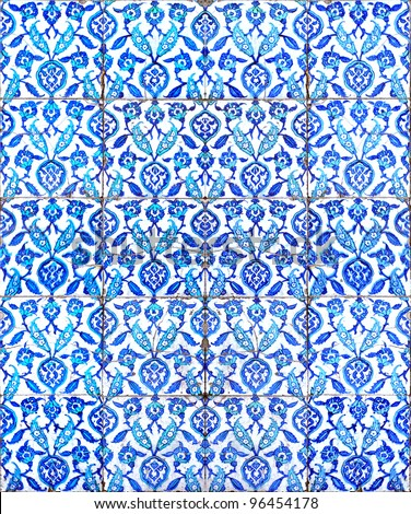 A seamless background image of ancient hand painted ceramic tiles from an islamic mosque.