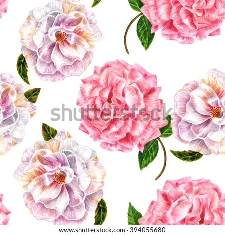 A seamless background pattern with vintage style watercolor drawings of tender pink and white roses - stock photo