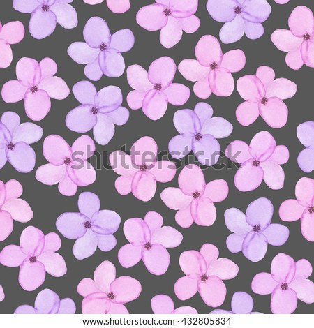 A seamless floral pattern with watercolor hand-drawn tender purple and pink spring flowers, painted on a dark background