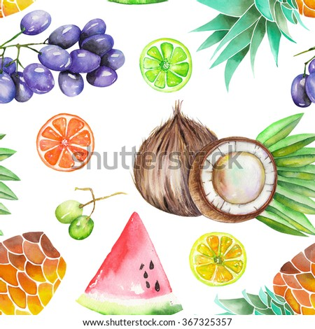A seamless fruit pattern with the watercolor hand-drawn fruits: grapes, pineapple, coconut, lemon, lime, watermelon, citrus and other. Painted on a white background.