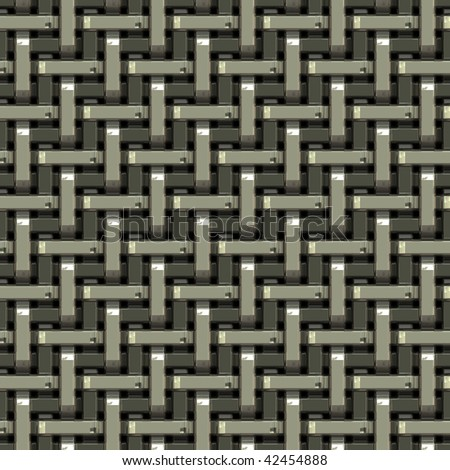 A seamless pattern of a silver metal grate or mesh material.