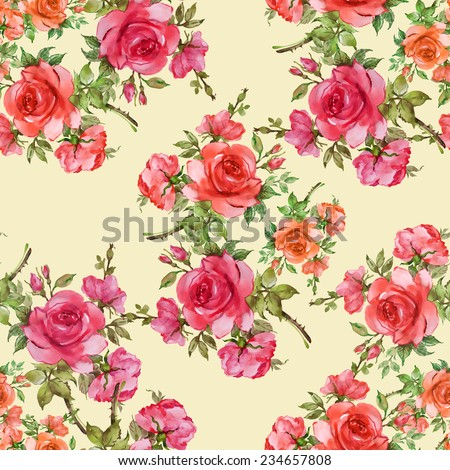 A seamless pattern of red roses-2