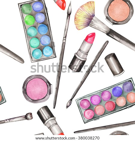 A seamless pattern with the makeup tools:  blusher, eyeshadow, lipstick and makeup brushes. All elements were hand-drawn in a watercolor on a white background.