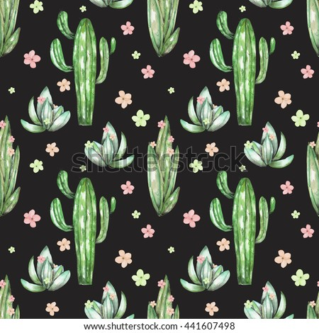 A seamless pattern with the watercolor various kinds of cactus and flowers, hand drawn on a black background - stock photo