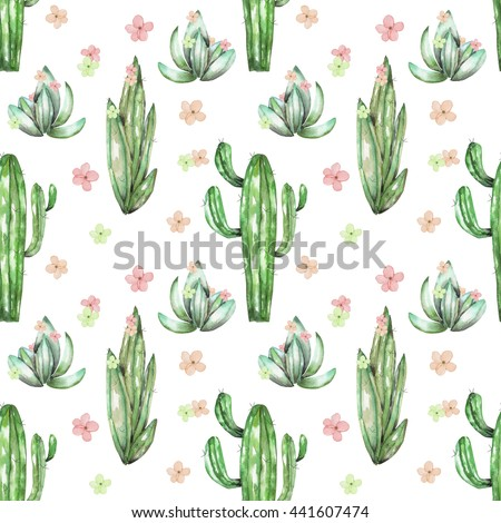 A seamless pattern with the watercolor various kinds of cactus and flowers, hand drawn on a white background - stock photo