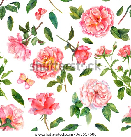 A seamless pattern with vintage style watercolor hand drawn pink and red roses and butterflies