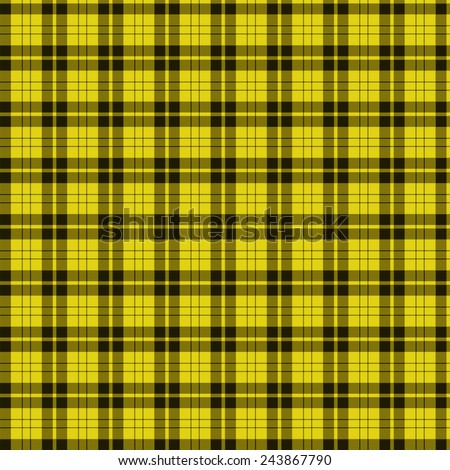 A seamless patterned tile of a yellow and black tartan. - stock photo