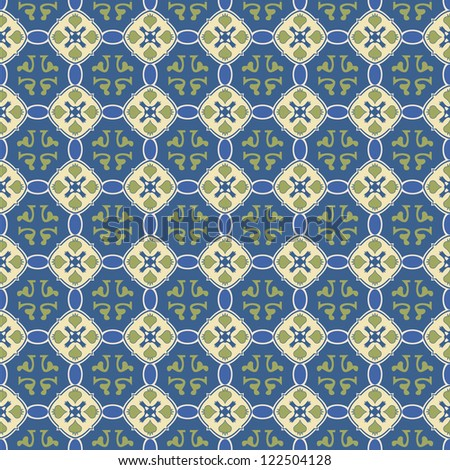 A seamless talavera tile inspired background with antique blue, green and cream coloring. This tile background will tile seamless in your project or can easily be used as is. - stock photo