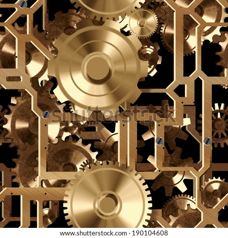 A seamless tile of a group of gears and cogs that could be clockworks.  They are gold with a black background. - stock photo