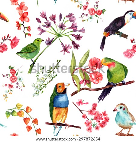 A seamless watercolor pattern of drawings of exotic birds and flowers - stock photo