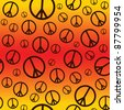 A seamlessly repeatable retro peace sign background. Raster. - stock photo