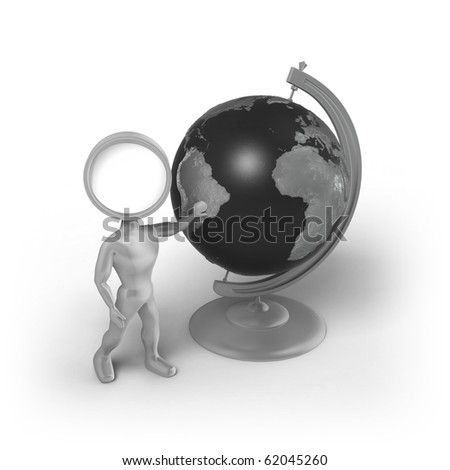 A Search-Man with a magnifier as his head, stands next to a globe and touches it.