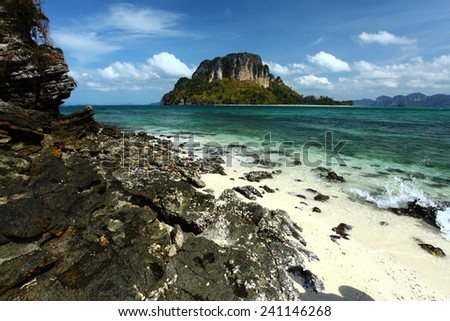 A seascape of the Andaman sea at Krabi, Thailand