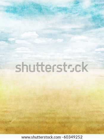 A seascape with grunge paper textures. - stock photo