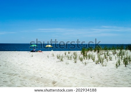 A secluded beach on Long Beach Island along the New Jersey coastline. - stock photo