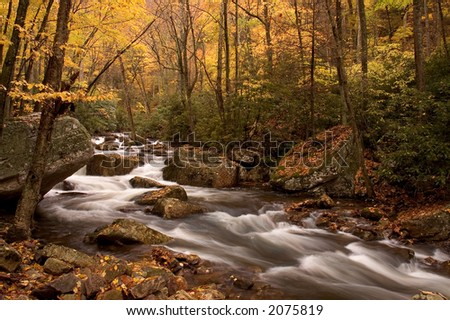 A secluded cascade in the forests of Virginia. Taken with a slow shutter speed to smooth and soften the water. Nice detail in the water can be seen as it tumbles and swirls its way downstream. - stock photo
