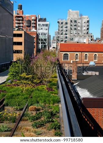 A section of New York City's High Line Park, on the West Side, in Chelsea on a spring day. - stock photo