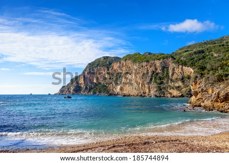 A section of Paleokastritsa beach, a popular tourist destination on Corfu Island, Greece. - stock photo