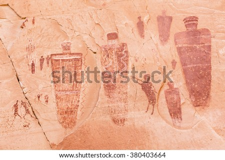 A section of the Great Gallery Barrier Canyon paintngs in the remote Horseshoe Canyon Unit of Canyonlands National Park, Utah. - stock photo