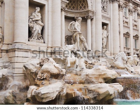 A section of the Trevi fountain, Rome.
