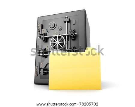 A secure, locked, directory. 3D rendered illustration. Isolated on white. - stock photo