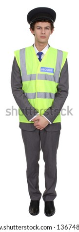 A security guard full length isolated on white