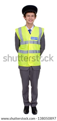 A security guard in uniform with a hat, isolated image against a white background.