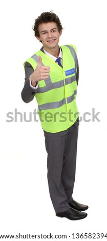 A security guard with a thumbs up sign, isolated on white