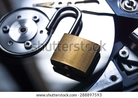 A security lock on computer hard disk / Computer data security breach