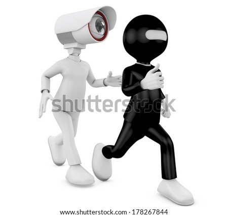 A security person with bug eye chasing an escaping thief  - stock photo