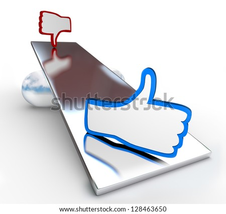 A see-saw balance weighs good and bad options with thumbs up and down symbols to represent positive and negative choices or reviews - stock photo