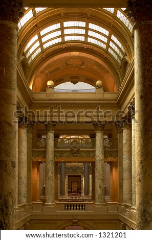 A see-through perspective of layers of marble columns and hallways. More with keyword Series002.