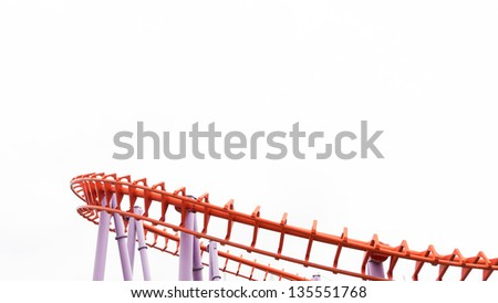 A segment of a roller coaster, isolated - stock photo