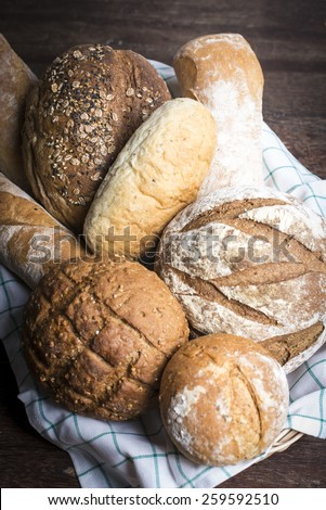 a selection of artisan breads - stock photo
