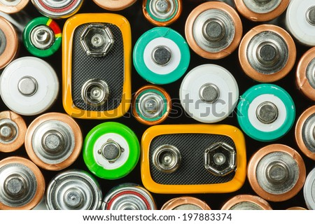 a selection of batteries - stock photo