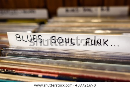 A selection of Blues Soul and Funk  vinyl albums for sale in a second hand store.